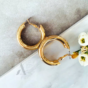 Small Gold Toned Tube Hoop Earrings from Jewellery AE