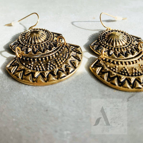 Brass Tribal Two Tier Fan Dangle Fashion Earrings