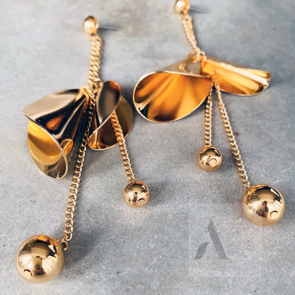 Gold Tone Large Statement Asymmetric Drop Earrings