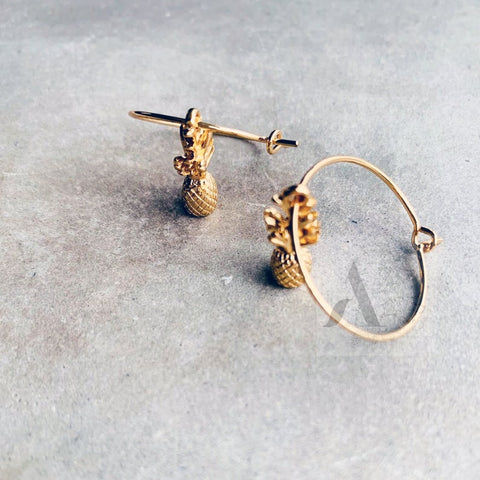 Gold Tone Tiny Pineapple Small Hoop Earrings