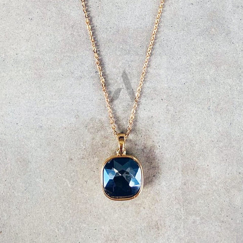 Blue Glass Pendant with Gold Toned Necklace