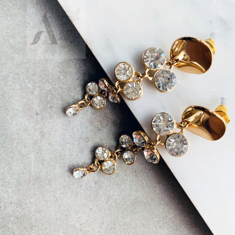 Gold Flower with crystal stone earrings