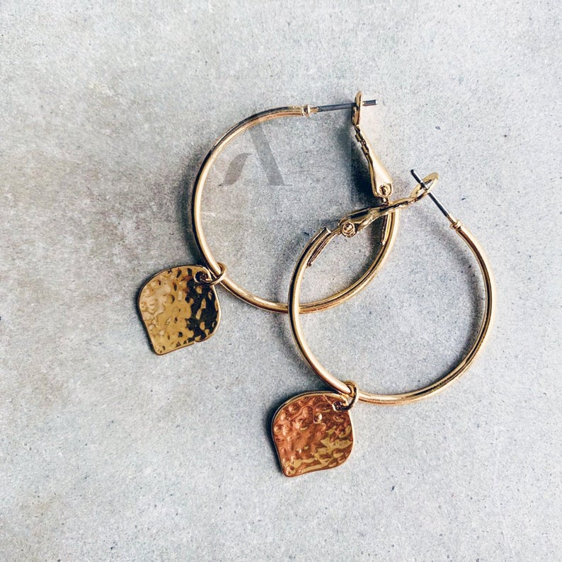 Gold Tone Hammered Small Hoop Earrings from jewelleryae.com
