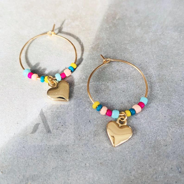 Gold Toned Heart Charm Dainty Hoop Fashion Earrings
