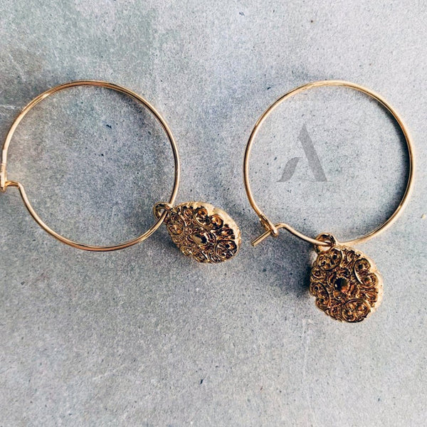Gold Tone Textured Tiny Coin Hoop Earrings