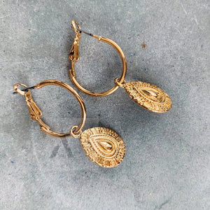 Gold Tone Textured Tear Drop Hoop Earrings
