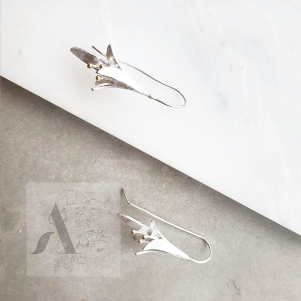 925 Sterling silver long flower earrings
