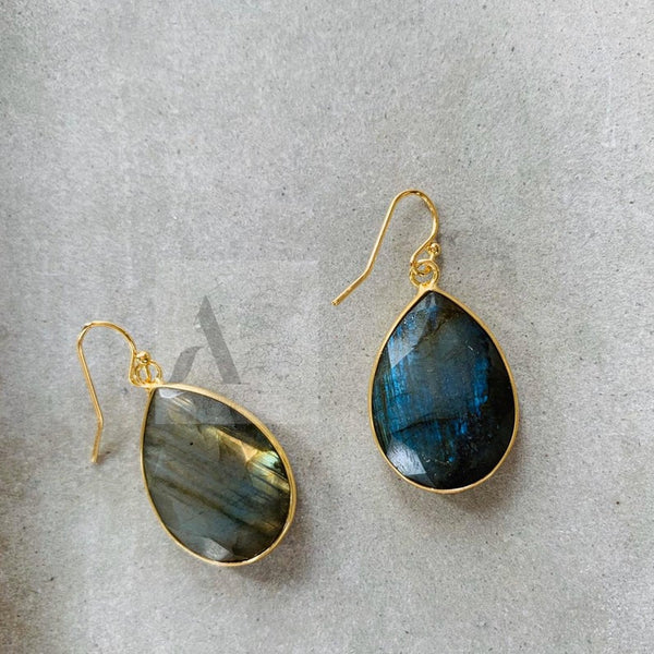 Labradorite Gemstone Large Gold Plated Teardrop Dangle Earrings