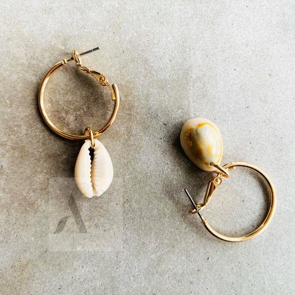 Natural Cowrie Shell Gold Tone Hoop Earrings