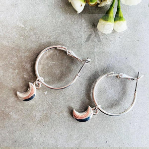 Silver Tone Crescent Moon Earrings
