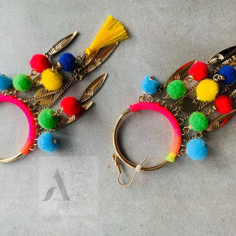 Colourful Long Pom Pom Tassel Boho Earrings