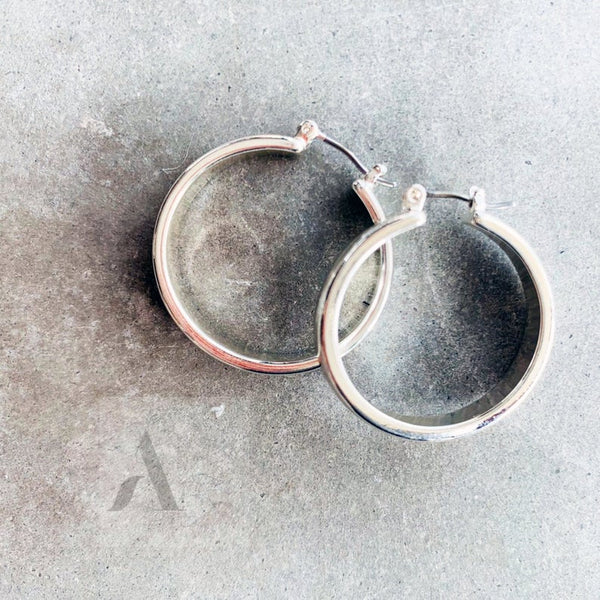 Silver Tone Medium Hoop Earrings