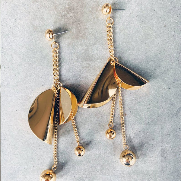 Gold Tone Large Statement Asymmetric Drop Earrings from jewelleryae.com