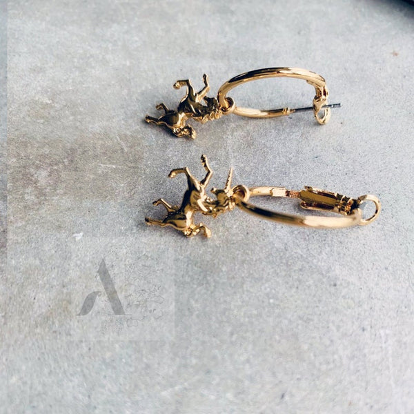 Gold Tone Small Unicorn Charm Hoop Earrings