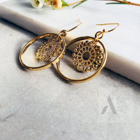 Gold Tone Filigree Circle Fashion Earrings