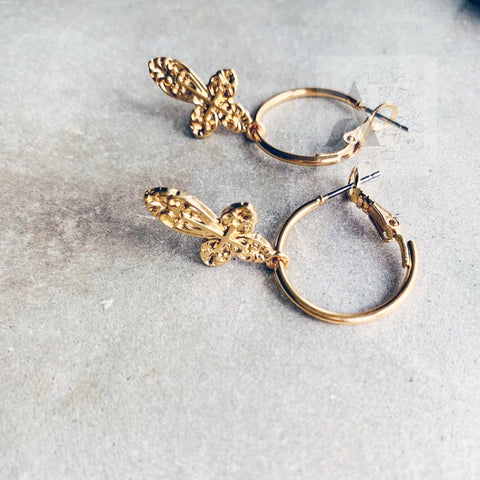 Gold Tone Engraved Cross Hoop Earrings