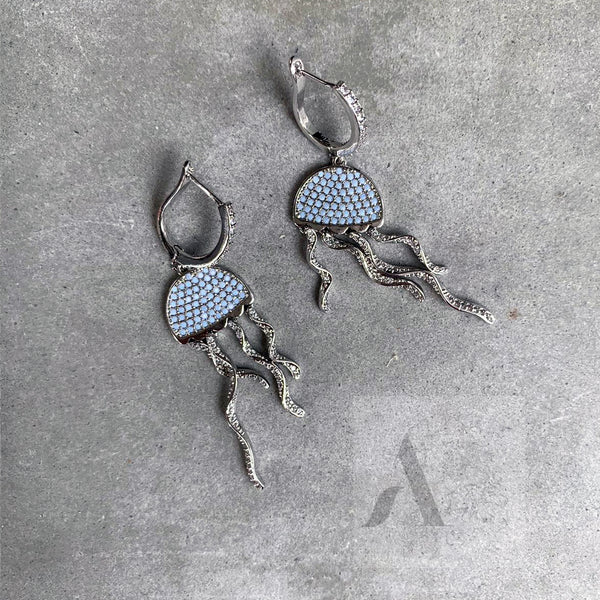 925 Sterling Silver Jelly Fish Unique Statement Earrings