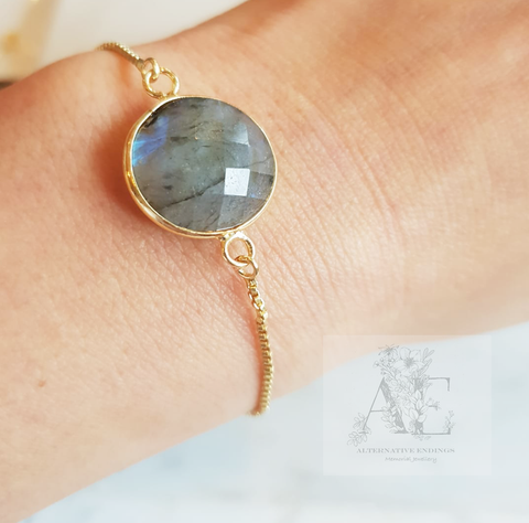 Gold Labradorite Adjustable Bracelet