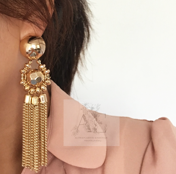 Gold Tone Oversized Metal Tassel Earrings