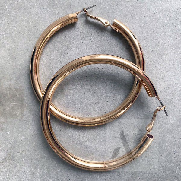 Jewellery AE Oversized Gold Toned Tube Hoop Summer Earrings