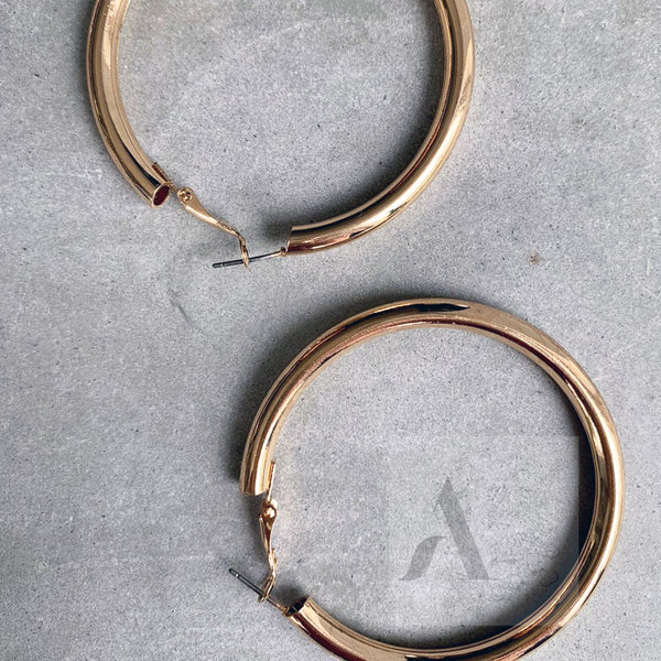 Oversized Gold Toned Tube Hoop Summer Earrings
