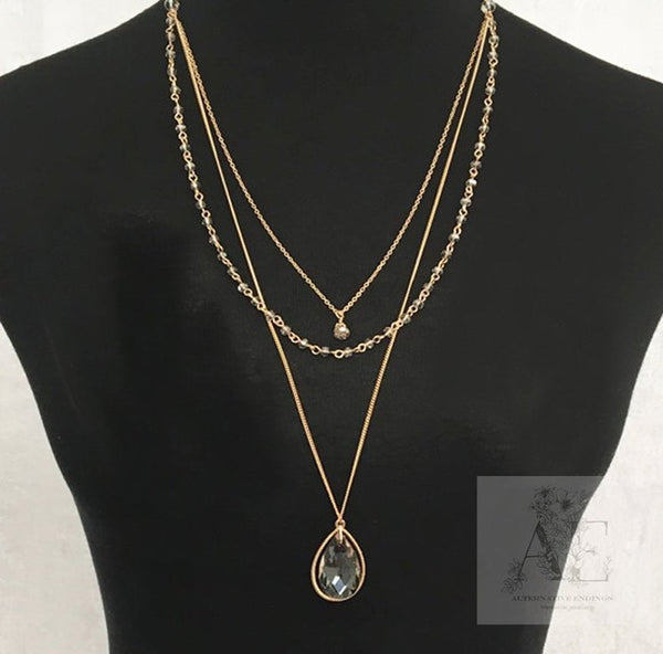 Teardrop Crystal Layered Necklace