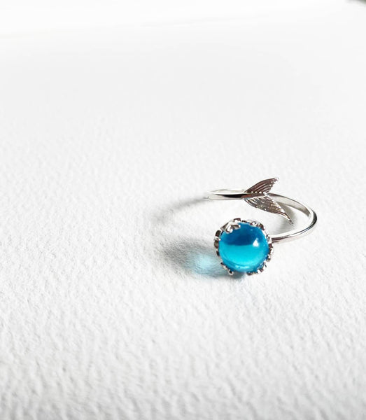 Adjustable 925 Sterling Silver Mermaid Teardrop Ring