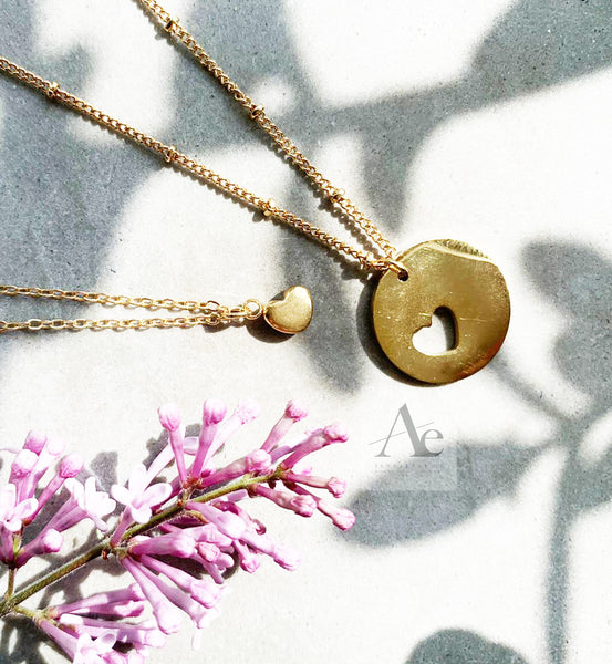 Gold Toned Mother and Daughter Missing Heart Set Necklaces