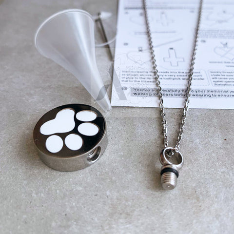 Silver Tone Stainless Steel with White Paw Cremation Necklace