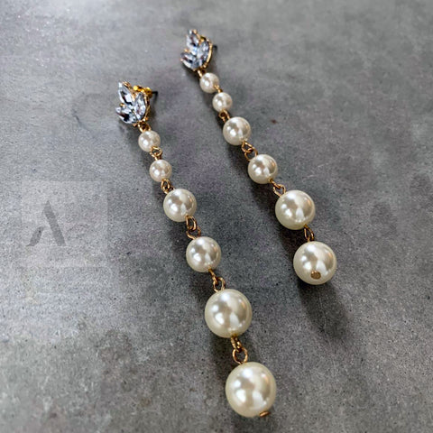 Long Pearl Earrings with Blue Crystal Flower Jewellery AE