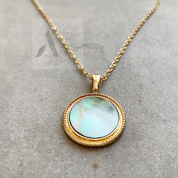 Mother of Pearl Gold Disc Necklace