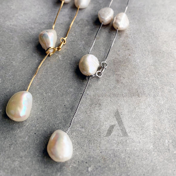 925 Sterling Silver Chain and Freshwater Pearls
