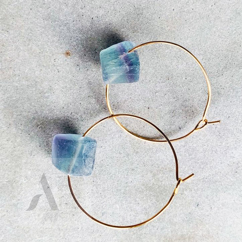 Aqua and Purple Druzy Quartz Raw Gemstone Gold Hoop Earrings from jewelleryae.com