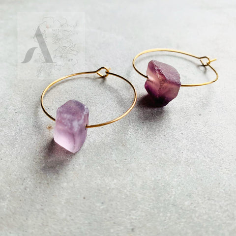 Purple Druzy Quartz Raw Gemstone Gold Hoop Earrings