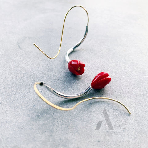 925 Sterling Silver & Gold Red Coral Earrings from jewelleryae.com