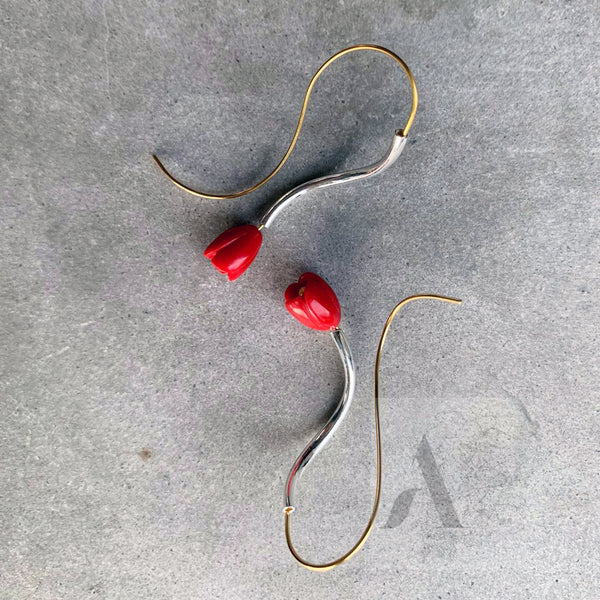 925 Sterling Silver & Gold Red Coral Earrings