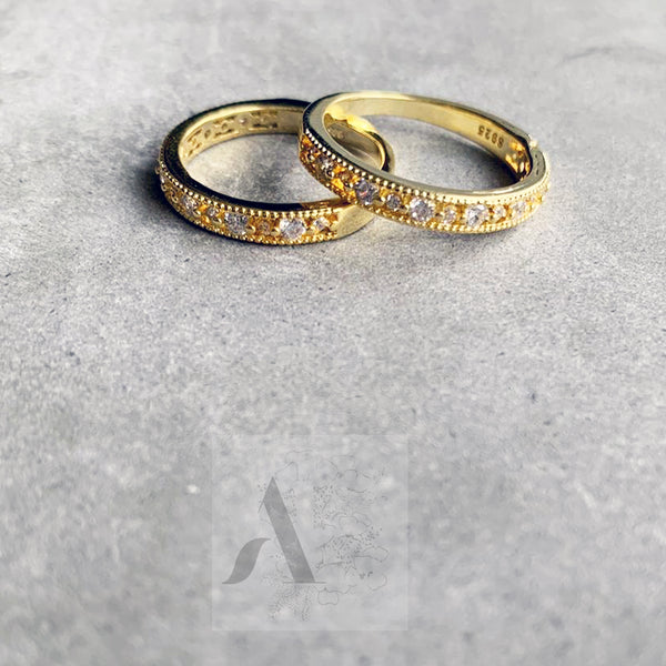 925 Sterling Silver CZ Stone Gold Plated Simple Eternity Ring
