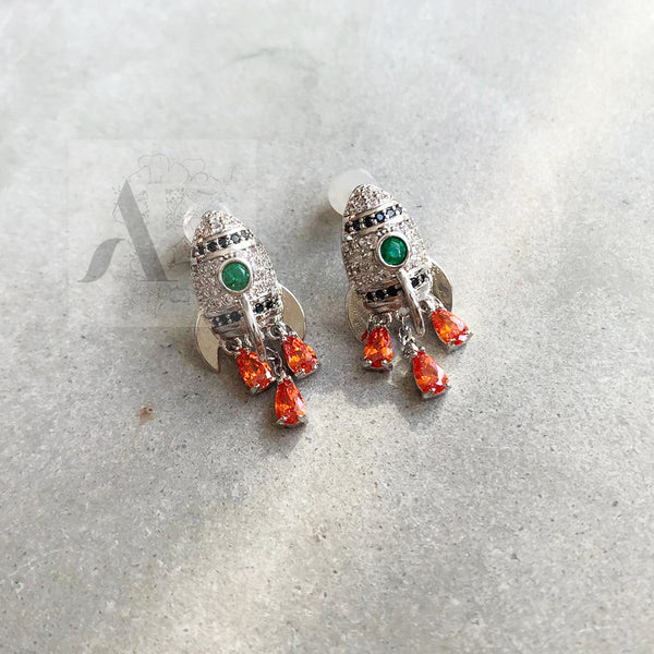 925 Sterling Silver Rocket with CZ Stones Earrings