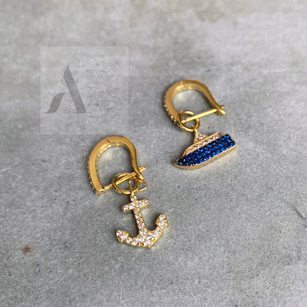 925 Sterling Silver Gold Plated Anchor and Boat Mismatch Earrings