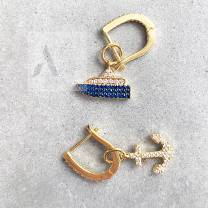 925 Sterling Silver Gold Plated Anchor and Boat Mismatch Earrings from jewelleryae.com