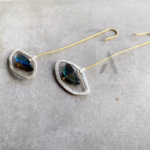 925 Sterling Silver Labradorite Long Statement Earrings from jewelleryae.com