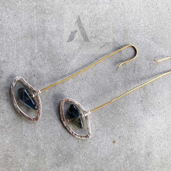 925 Sterling Silver Labradorite Long Statement Earrings