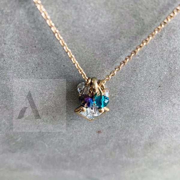 Dainty Crystal Square Gold Toned Necklace
