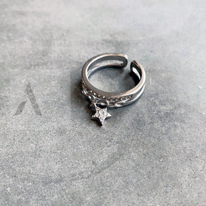 925 Sterling Silver Dangle Star Ring