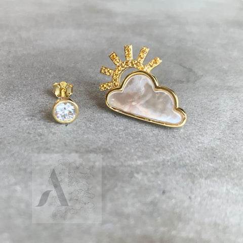 18k Gold Plated Asymmetrical Sunny Cloud  Earrings