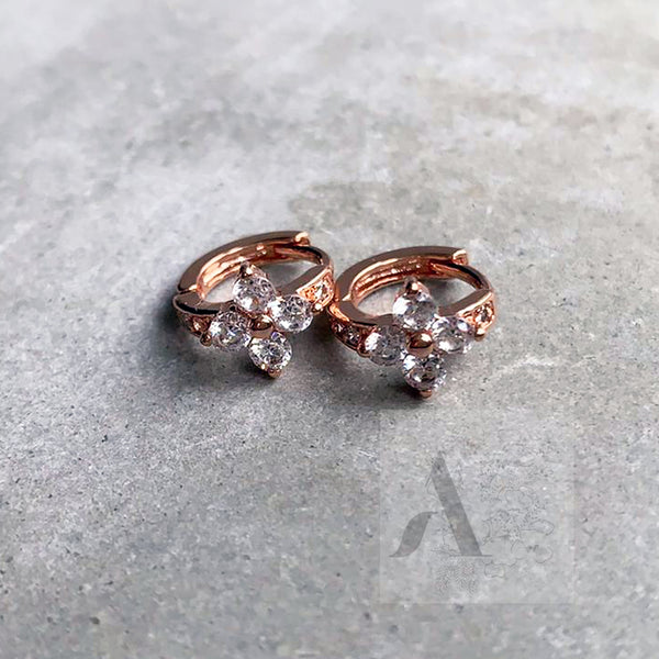 925 Sterling Silver Tiny Flower Hoop Earrings in Rose Gold, Gold and Silver
