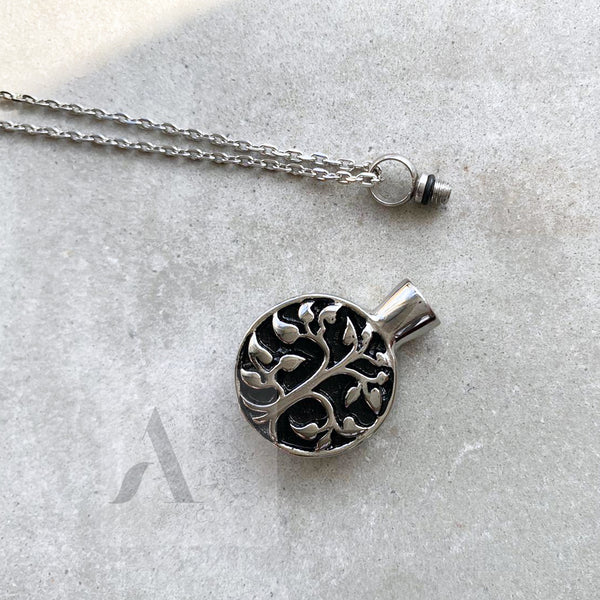 Stainless Steel Life of Tree Cremation Ash Necklace