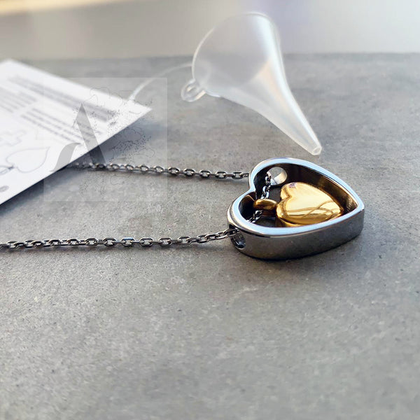 Gold & Silver tone stainless steel two Hearts Cremation Ash Urn Necklace