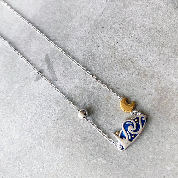 925 Sterling Silver Van Gogh Starry Night Necklace
