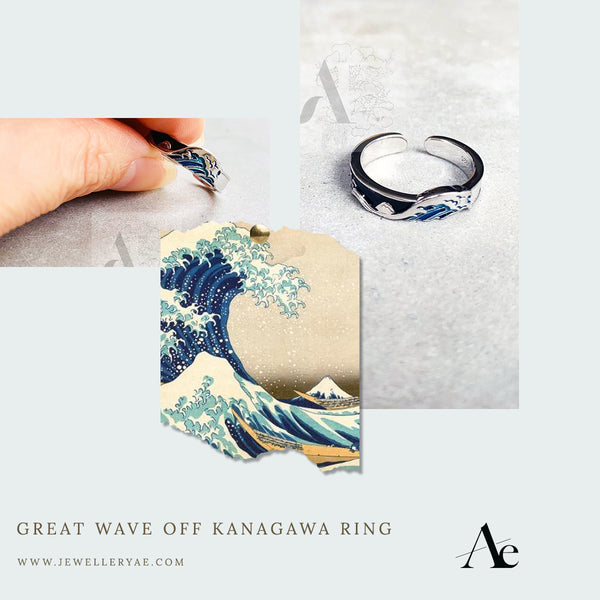 Great Wave off Kanagawa 925 Sterling Silver Adjustable Ring